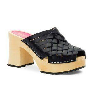 Swedish Hasbeens Monika Black Leather Clogs